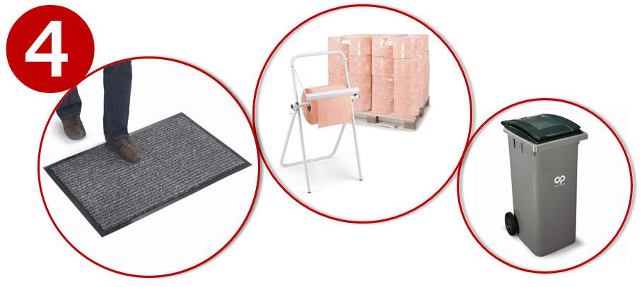 Hou je werkplek proper met matten, poetspapier en vuilnisbakken binnen handbereik.