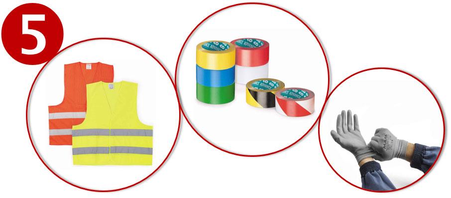 Safety first met veiligheidshesjes, signalisatietape, werkhandschoenen, enz.
