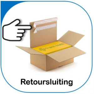 Doos met retoursluiting voor e-commerce.
