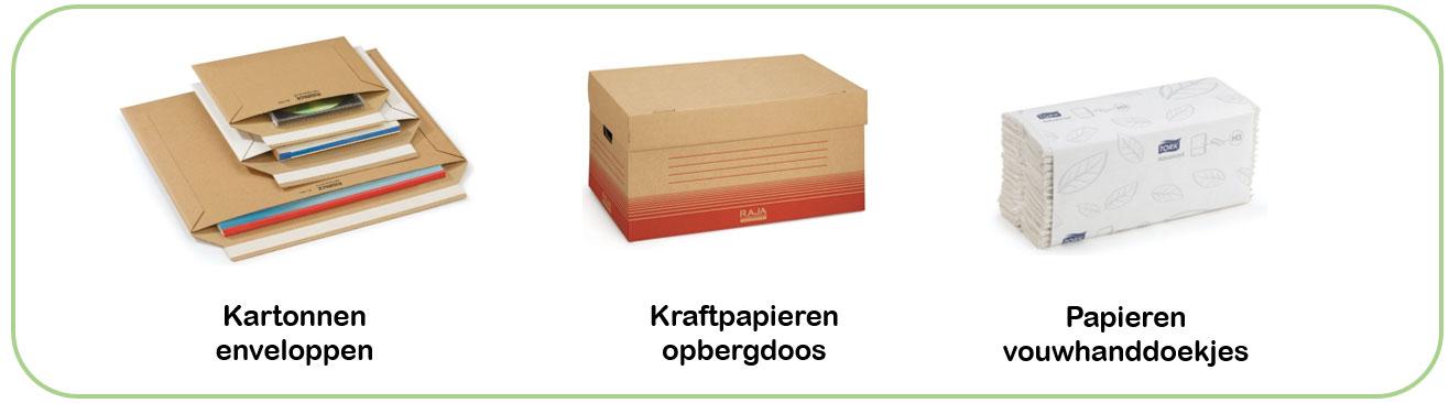 Ecologische oplossingen voor je kantoor met kartonnen enveloppen, opbergdozen en papieren handdoekjes
