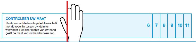 Controleer de maat voor je handschoenen met deze maatwijzer