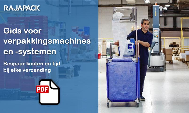 Download hier onze gids voor verpakkingsmachines en -systemen: bespaar kosten en tijd bij elke verzending
