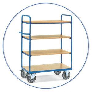 Etagewagens voor grote stapels heterogene goederen of losse objecten