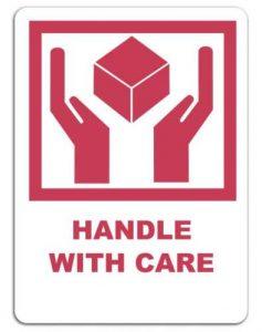 Handle with care label voor verpakkingen