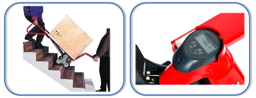 Steekwagen voor trappen en pompwagen met ingebouwde weegschaal