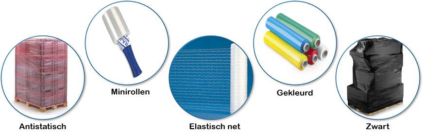 Wikkelfolie bestaat in verschillende soorten en kleuren. Bijvoorbeeld: minirollen, antistatische wikkelfolie, elastisch net, gekleurde wikkelfolie of zwart en doorzichtige wikkelfolie.