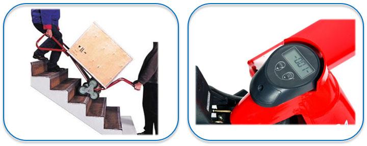 Steekwagen voor trappen en treden | Palletwagen met ingebouwde weegschaal