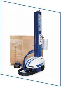 Gebruik een wikkelrobot om uw goederen volautomatisch te omwikkelen.