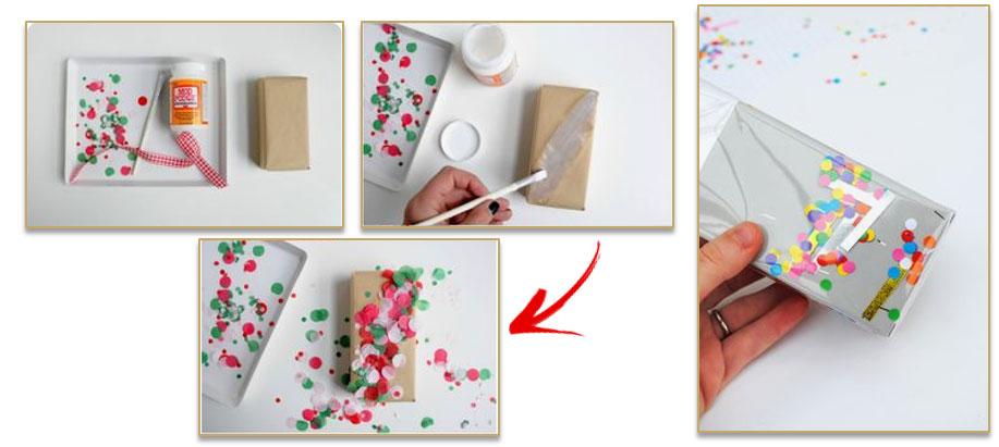 Origineel verpakken met confetti.