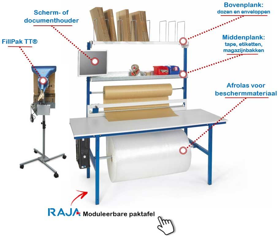 Moduleerbare paktafel van Rajapack