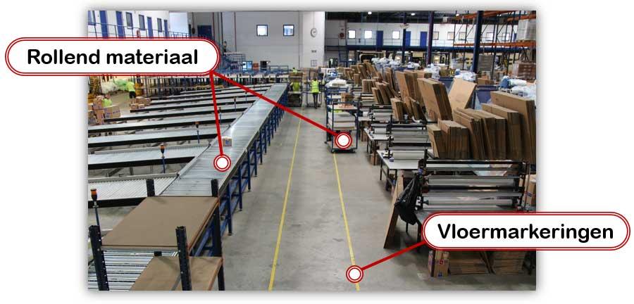 Verbeter de werkstromen in je magazijn met bijvoorbeeld rollend materiaal en vloermarkeringen