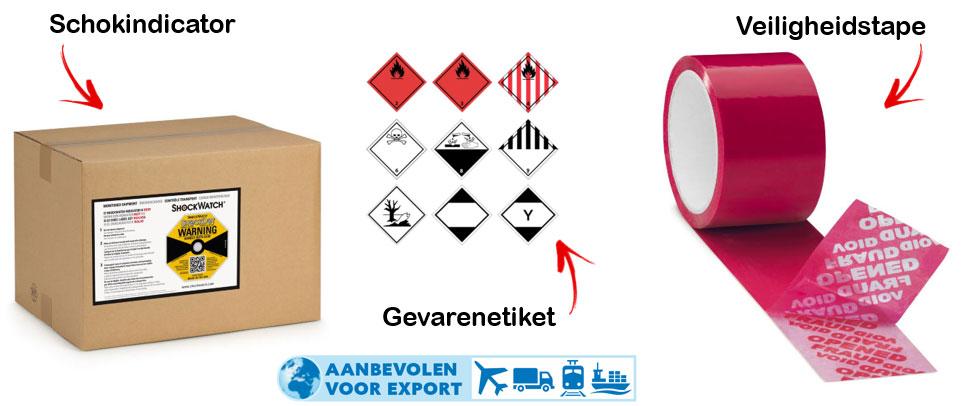 Etiketten voor een veilige export.