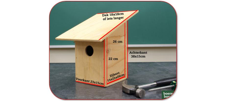 Vogelnestkast van houten planken