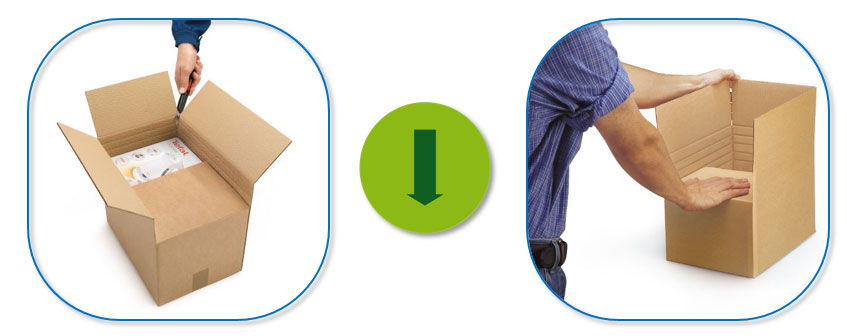 Doos met variabele hoogte om duurzaam te verpakken