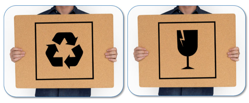 Bedrukt symbool op een verpakking