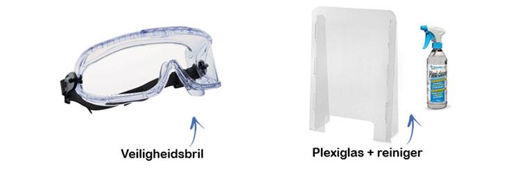 Brillen en plexiglas als barrière tegen virussen