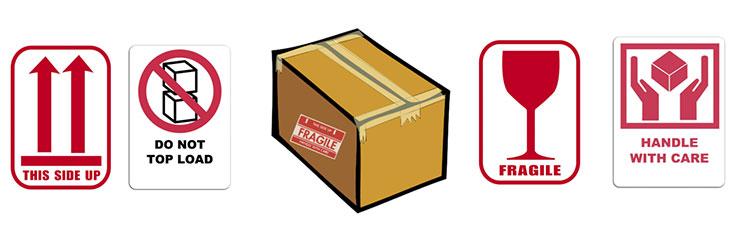 Verpakkingsetiketten voor glas of porselein