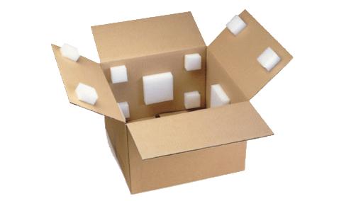 Schuimkussens binnenin een doos