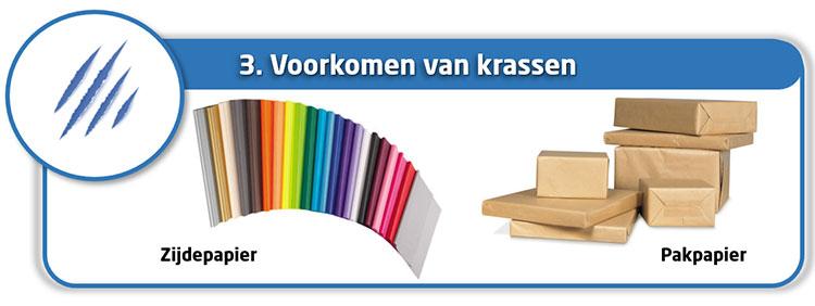 Verpakken en beschermen met papier om krassen te voorkomen
