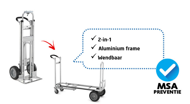 Steek-plateauwagen van aluminium
